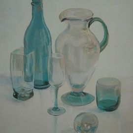 Maria Teresa Fernandes: 'Mb Design Collection', 1995 Oil Painting, Optical. Artist Description:  to depict various glass thickness on a clear background is a defiant task ...