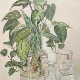 Maria Teresa Fernandes: 'Mococa Museum Collection', 1976 Oil Painting, Botanical. Artist Description: glass thickness of kilo has to be very well defined as well the stalks ( thispainting won a Great Silver Medal atAmparo ) ...