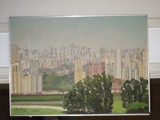 Trains Oil Painting by Maria Teresa Fernandes Title: Morumbi view, created in 1974
