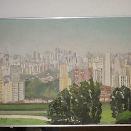Maria Teresa Fernandes: 'Morumbi view', 1974 Oil Painting, Trains. Artist Description:  working with various plans is always a defiant bask ( track is between river and the skyscrapers ) ...