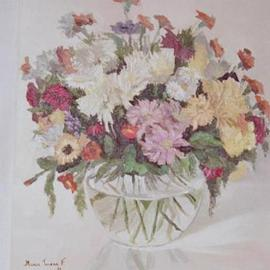 Maria Teresa Fernandes Artwork Myrian Collecion, 1980 Oil Painting, Floral