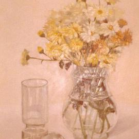 Maria Teresa Fernandes: 'Myrian Collection', 1979 Oil Painting, Floral. Artist Description: cleanliness with almost white backgroundenhance the transparent objects, a technique obtained after many effort...