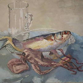 Maria Teresa Fernandes: 'Octopus and fish', 1968 Oil Painting, Fish. Artist Description:  marine beeings reflections are difficult to paint ...