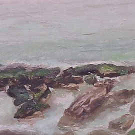 Maria Teresa Fernandes: 'Pitangueiras Corner', 1981 Oil Painting, Seascape. Artist Description: to capture everchanging waves is a patient job  ( canvas on a hardboard ) ...