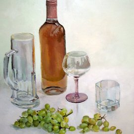 Maria Teresa Fernandes: 'Queiroz Fernandes Collection', 1996 Oil Painting, Food. Artist Description:  on a dark background is easier to get results, but an excuse to avoid extra hard work ...