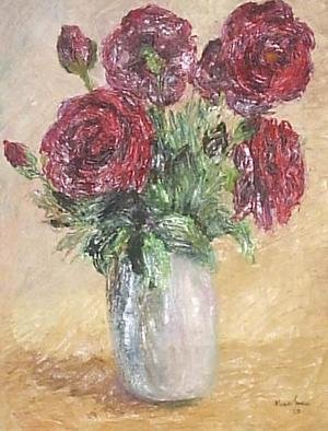 Maria Teresa Fernandes Artwork Red flowers, 1969 Oil Painting, Floral