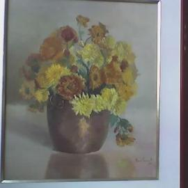 Maria Teresa Fernandes Artwork Rettondini Collection, 1971 Oil Painting, Floral