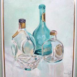 Maria Teresa Fernandes: 'S Bernardo do Campo Council', 1971 Oil Painting, Optical. Artist Description: bottle behind glass gives excelent refraction studies but are very difficult on a very clear background ( this painting won a Silver Medal plus Acquisition Award at S Bernardon do Campo City Council )...