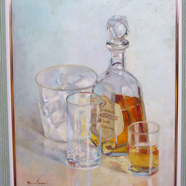 Maria Teresa Fernandes: 'S Bernardo do Campo Council', 1969 Oil Painting, Optical. Artist Description:  to portray a realistic glass on a clearbackground is a challenge, but to reproduce ice is recklesness ...