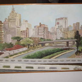 Maria Teresa Fernandes: 'S Paulo scenery', 1972 Oil Painting, Cityscape. Artist Description:  3rd dimension on urban scape as a historical landmark ...