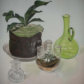 Maria Teresa Fernandes: 'Scopy Endoscopy Collection', 1983 Oil Painting, Science. Artist Description: to paint a transparent heart with convexvolume was easy. difficult was to fill it with soil and a plant...