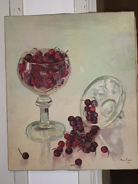 Maria Teresa Fernandes  'Strawberries And Glass', created in 1969, Original Drawing Pencil.