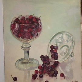 Maria Teresa Fernandes Artwork Strawberries and glass, 1969 Oil Painting, Food
