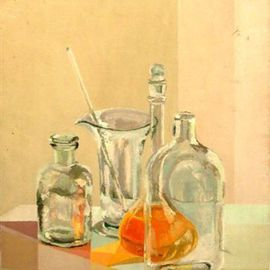 Maria Teresa Fernandes: 'Taubate Museum Collection', 1976 Oil Painting, Technology. Artist Description:  try to depict glass behind other glasses on a clear background- needs lots of hard work and experience ...