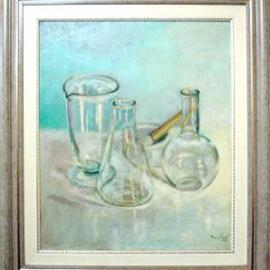Maria Teresa Fernandes: 'Valentim Mesquita Collection', 1970 Oil Painting, Optical. Artist Description: to multiply glass objects against a clear background requires artist breath...