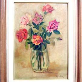Maria Teresa Fernandes Artwork Valentim Mesquita Collection, 1967 Oil Painting, Floral