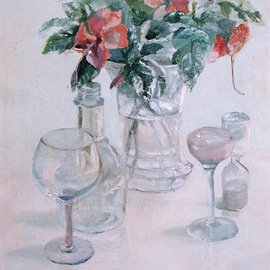 Maria Teresa Fernandes: 'Vilaneda  Collection', 1995 Oil Painting, Floral. Artist Description:  to enhance transparent objects over a clear background is a difficult task ...