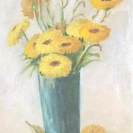 Maria Teresa Fernandes Artwork Yellow flowers, 1967 Oil Painting, Floral