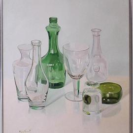 Maria Teresa Fernandes: 'Yoshida Collection', 1982 Oil Painting, Optical. Artist Description: not happy with the difficulty the artistmultiplied it for several bottles( this painting won a gold medal atEmbu )...