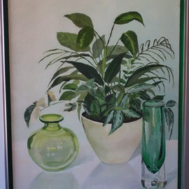 Maria Teresa Fernandes: 'Yoshida  Collection', 1980 Oil Painting, Floral. Artist Description:  leaves in different plans, rounds forms are convex, thick glass, clear background, all big challenges ( this painting won Honoured Mention at Colegio Adventista collective ) ...