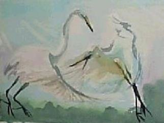 Maria Teresa Fernandes Artwork birds court, 1980 Watercolor, Wildlife