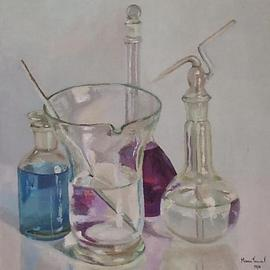 Maria Teresa Fernandes: 'blue chemistry', 1974 Oil Painting, Education. Artist Description:  glass behind glass is a challenge, mainly in clear background and painted with palette knife, not brush   glass against a clear background is a big challenge to any painter                    ...