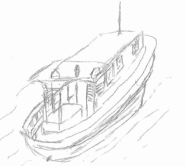 Maria Teresa Fernandes  'Boat  II  By  Ebf', created in 2006, Original Drawing Pencil.