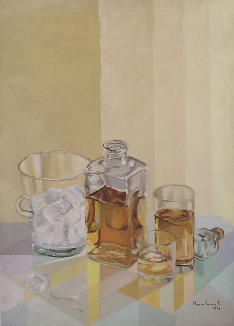 Maria Teresa Fernandes  'Bottled Yellow', created in 1976, Original Drawing Pencil.