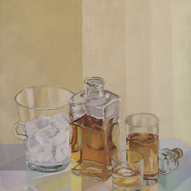 Maria Teresa Fernandes: 'bottled yellow', 1976 Oil Painting, Business. Artist Description:  many barriers : transparent objects, volumes, reflexes, refractions, a clear background usually avoided by painters, palette knife instead of brush, changing daylight   glass against a clear background is a big challenge to any painter                     ...