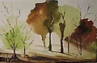 Maria Teresa Fernandes: 'brown leaves', 1980 Watercolor, Seasons. autumn colours invade the forest...