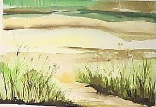 Maria Teresa Fernandes Artwork bushes in a shore, 1980 Watercolor, Sports