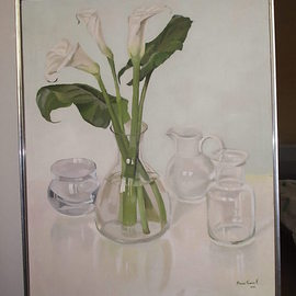 Maria Teresa Fernandes: 'callas and 3 jugs', 1982 Oil Painting, Love. Artist Description:  white basis besides round vase reflections require tons of love ( this painting won Gold Rose Thophy at APBA ) ...