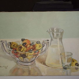 Maria Teresa Fernandes: 'cashews  and  crystals', 1973 Oil Painting, Food. Artist Description:  every curve has to be well elaborated to get dimensions ( with palette instead of a brush ) and the juice must to be appealling also ...