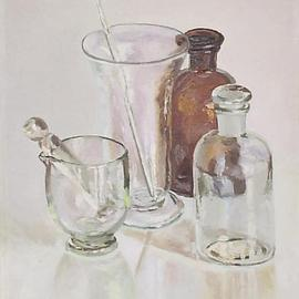 Maria Teresa Fernandes: 'chemistry and brown', 1970 Oil Painting, Education. Artist Description:   painter raised in dad's drugstore lab among glasses and bottles ( this painting has a bronze medal at the important SPBA( Salao Paulista)   glass against a clear background is a big challenge to any painter                   ...