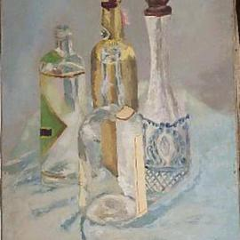 Maria Teresa Fernandes: 'clear bottles', 1968 Oil Painting, Still Life. Artist Description: transparents in a clear suuroundingare a real challenge...