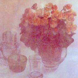 Maria Teresa Fernandes Artwork clear roses, 1981 Oil Painting, Floral