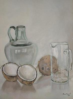 Maria Teresa Fernandes: 'coconuts and amphora', 1980 Oil Painting, Food.  cavities in white coconuts plus volume in convex transparent glass seams impossible,but worth trying   glass against a clear background is a big challenge to any painter                      ...