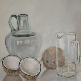 Maria Teresa Fernandes: 'coconuts and amphora', 1980 Oil Painting, Food. Artist Description:  cavities in white coconuts plus volume in convex transparent glass seams impossible,but worth trying   glass against a clear background is a big challenge to any painter                      ...