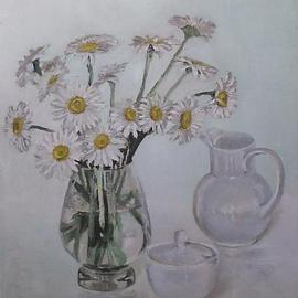 Maria Teresa Fernandes: 'daisies', 1978 Oil Painting, Love. Artist Description:  every delicate petal is different, in hues, shades, nuances, focus, never a rubber stamp painting. Requires much love to paint   glass against a clear background is a big challenge to any painter                 ...