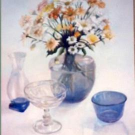 Maria Teresa Fernandes Artwork daisies in blue, 1981 Oil Painting, Floral