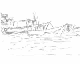 Maria Teresa Fernandes: 'fishing boats  I  by ebf', 2007 Other Drawing, Fish.