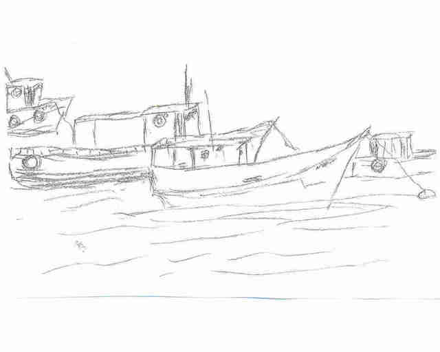 Maria Teresa Fernandes  'Fishing Boats  I  By Ebf', created in 2007, Original Drawing Pencil.