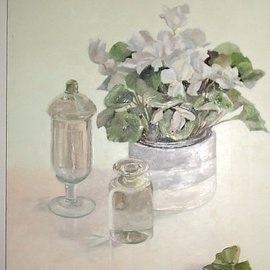 Maria Teresa Fernandes: 'flower and glass kilo', 1995 Oil Painting, Science. Artist Description:  solid glass weighs every detail and light ...