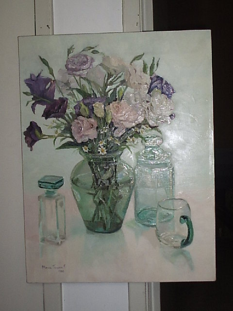 Maria Teresa Fernandes: flowers and green glasses, 1996 Oil Painting