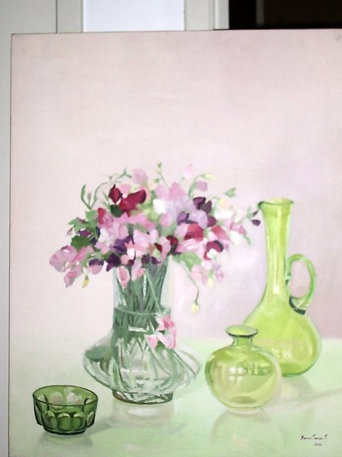 Maria Teresa Fernandes  'Flowers And Greens', created in 1981, Original Drawing Pencil.