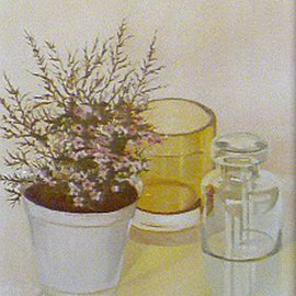 Maria Teresa Fernandes Artwork flowers and white vase, 1982 Oil Painting, Floral