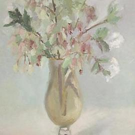Maria Teresa Fernandes: 'flowers in a goblet', 1971 Oil Painting, Love. Artist Description: few objects can depict a delicate painting...