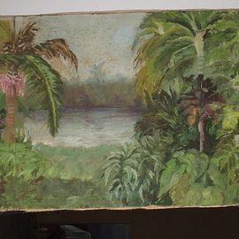 Maria Teresa Fernandes: 'forest with palm tree', 1976 Oil Painting, Botanical. Artist Description:  to get plans in a luxuriant background requires to treat carefully each hue ...