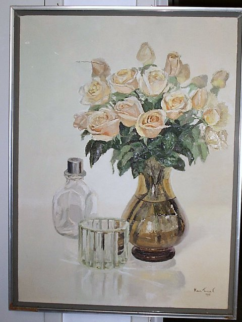 Maria Teresa Fernandes  'Golden Roses', created in 1983, Original Drawing Pencil.