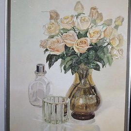 Maria Teresa Fernandes: 'golden roses', 1983 Oil Painting, Floral. Artist Description:  every petal detail is different and requires careful work with proper hues. The convex vase was easy, you just inflate it. . . ...